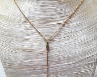 Peruvian Opal, Sapphire and 14k gold adjustable length necklace.