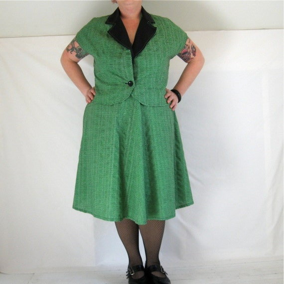 Halter Dress and Jacket - plus size - made from vintage 1950s green cotton seersucker with black trim - 50B-42W-60H