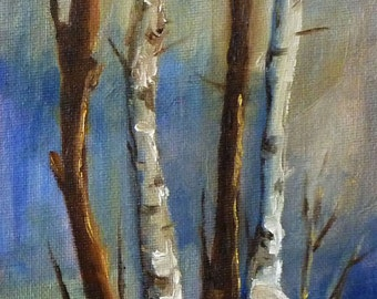 Landscape Oil Painting, Winter Tree Group, Birch Trees, 5x7, Original Small Painting on Canvas, Blue Brown Wall Decor, Snow Scene, Woodland