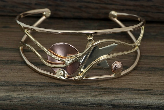 Mixed metal bracelet, cuff bracelet, bronze, copper, nickel silver