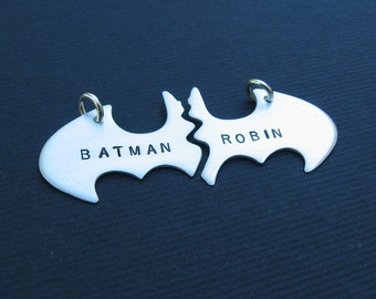 Batman Best Friend necklaces in sterling silver STAMPED Personalized NO chains