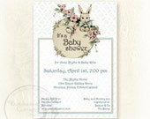 Bunny Baby Shower Invitation - personalized ready-to-print digital 5x7 shower invitation