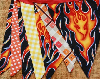 Flames Fabric Bunting, 7 MEDIUM Flags, Boy Themed Banner, One of a Kind, Ready To Ship.  Photo Prop, Nursery, Boy's Room or Party Decor.