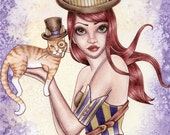 Steampunk Art Print - 8 x 10 - Steampunk Cat Top Hat Fantasy Art Print - Riley - by Nikki Burnette