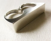 Rectangle Bar Hefty Two Finger Ring in Sterling SIlver - minimalist unisex jewelry