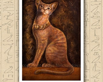 Egyptian Cat Goddess Bast - Art Print on paper - 8x12inches (20x30cm) - fine art giclee reproduction