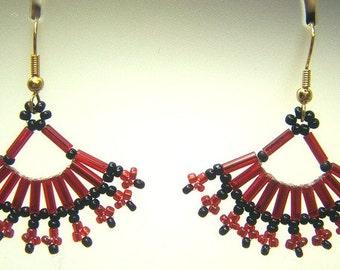 Hand Woven Red & Black Fan Earrings