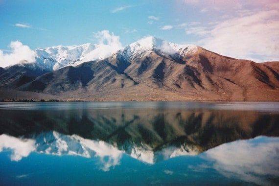 New Zealand (film), approx 15x10cm glossy fine art print - landscape, lake, reflection, lomography, light leak, glaciers, mountains, fpoe
