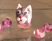 Pink Cat with Assorted Pink Beads