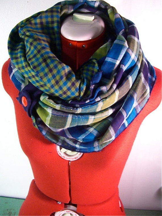 LAST ONE // reversible Infinity Scarf  in sea green plaid // Olive Seascape.