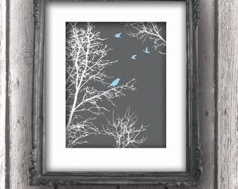 Art Print - Peaceful Silhouette Trees with Birds - downloadable pdf - 8x10