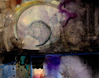 """Abstract Painting, Mixed Media Nautilus Shell Spiritual Art, collage, sea shell, """"Nature Voices No.12"""" Original by Kathy Morton Stanion EBSQ"""