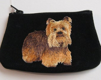 LITTLE YORKIE  Coin Purse on Black Leather Suede