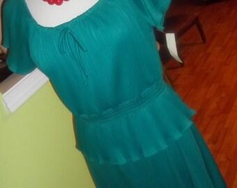 Adorably CUTE Vintage Teal Dress