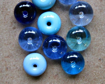 Lampwork Beads - SueBeads - Spacer Beads - Blue Spacer Beads Grab Bag Set - Handmade Lampwork Beads - SRA M67