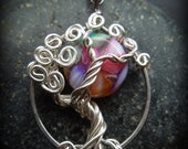 Rainbow Moon Tree of Life Necklace Silver- Tie Dye- Mother of Pearl shell- Multicolor
