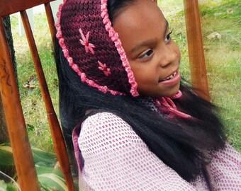 Lagelle's  Picot Bonnet in burgundy sz  girls 2 - 5yrs