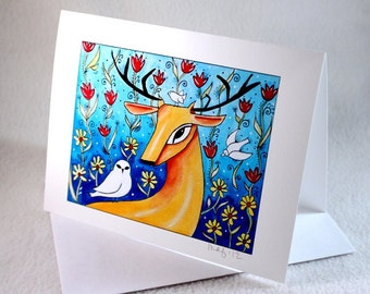 Blank Note Card, Deer Art Notecard, Woodland Blank Greeting Card, All Occasion Card, Original Storybook Art Print Blue Orange