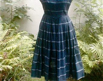 Black Cocktail Dress -  Sleeveless Plaid Full Skirt - Vintage 60s Twirlers Delight - Size Small