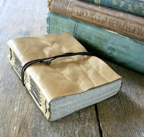 "Leather Journal . ""A book is like a garden carried in the pocket"" Chinese proverb . hand-engraved . handmade handbound (320 pgs)"