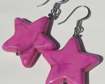 Pierced Dangle Pink Star Earrings stars pierced dangle hand made wire wrapped earrings