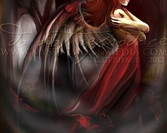 Agness... Dark Angel Art Print... Dark Angel... Blood Red... Night... Darkness...Forest