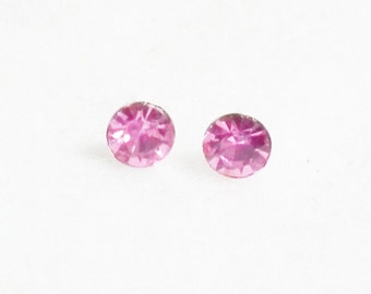 Rose Pink Earrings, Crystal Rhinestone on 925 Sterling Silver Post Stud Earring Vintage Style Charm Jewelry Bridesmaid Gift 7 mm