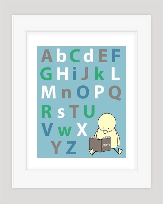 ABC Wall Art, Alphabet Print, Nursery Art Print, ABC Nursery Art, Kids Alphabet Art, ABC Print