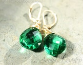 Angelina Jolie inspired Emerald green earrings Green Quartz earrings 14K gold filled emerald green jewelry - Nika
