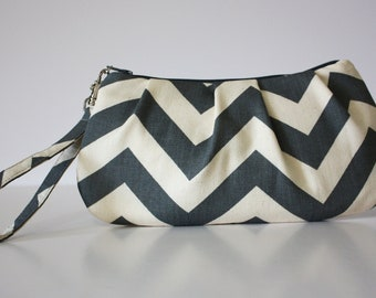 Gray Chevron Wristlet