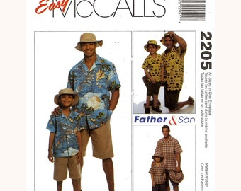 Father and Son shirts Mens and boys bermuda shirt shorts and hat sewing pattern McCalls 2205 All sizes