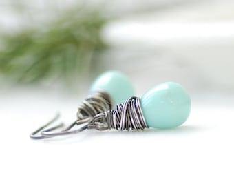 Mint Green Earrings, Winter Wedding, Pastel Wedding, Mint Glass Earrings, Cottage Wedding, Sterling Silver - Wintergreen