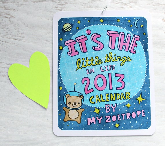2013 Wall Calendar 8x10 Illustrated Art Calendar