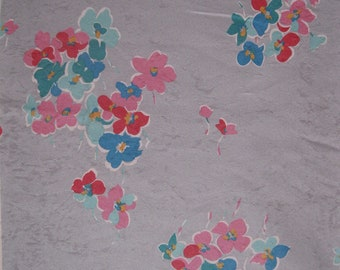 Dove gray pansy print faux suede, 1970's / early 1980's, with pink, blue, red, and verdigris flowers, 2 1/2 yards available