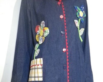 Appliqued Jean Jacket Flower Hippie Gardener Size XL 70s by Just Joey