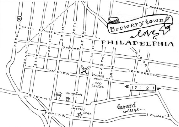 Brewerytown Hand-Drawn Map Philadelphia