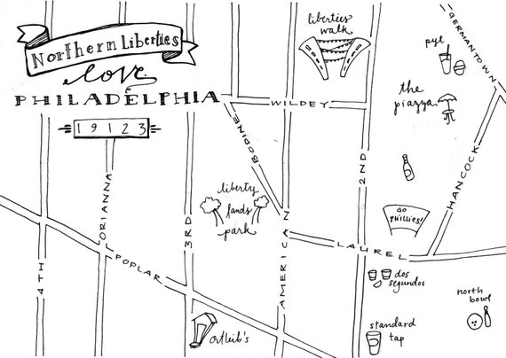 Northern Liberties Hand-Drawn Map Philadelphia