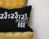 Numbers Collection Pillow - Hand Stamped Letterpress Text on Eco Friendly Hemp Fabric