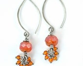 Czech Glass and Amber Sterling Silver Oxidized Long Dangle Earrings, Ready, To Ship
