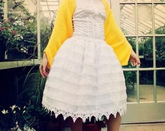 Japanese Fashion Harajuku Decora Girl KPop Kawaii Miss Humpy Dumpty White Dress Yellow Shrug & Yoke Tam by Janice Louise Miller