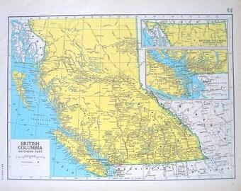 British Columbia Map, Saskatchewan Map - 1947 Large 2 Sided Book Plate from Vintage World Atlas