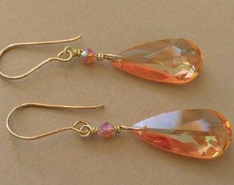 Large Brandy Teardrop Earrings