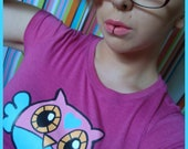 M Owlie the Owl Hot Pink Womens Fitted tshirt Medium