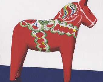 Dala Horse Print - Wall Art - Swedish Folk Art - Scandanavian Art - Folk Art