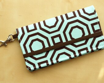 iPhone Cell Phone Wallet - Blue and Dark Brown Octagon Print - Custom Cell Phone Case - Smart Phone Wallet