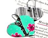 Recycled Jewelry heart earrings AZ Iced Tea