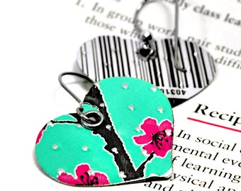 Recycled Jewelry heart earrings AZ Iced Tea
