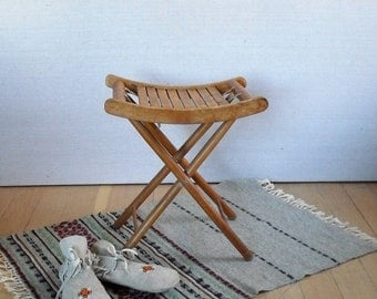 Vintage Camp Stool : Folding Slatted Wood Stool