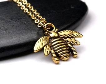 Bee Charm Necklace Small gold plated brass Pendant on a delicate gold plated chain