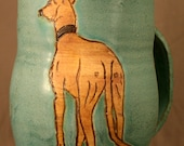 Greyhound, Whippet Pottery Mug- BIG- 6 inches high
